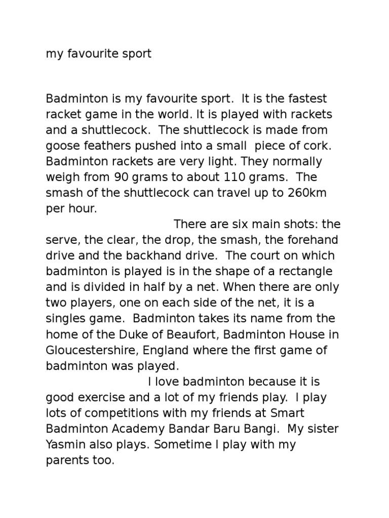 Essay my favourite sport