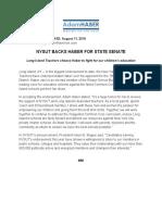 NYSUT BACKS HABER FOR STATE SENATE