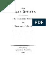 Immanuel Kant - Zum ewigen Frieden - Bibliographie der Drucke
