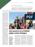 265 muertos en el fallido golpe de Estado contra Erdogan