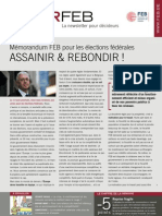 Mémorandum FEB pour les élections fédérales. Assainir & rebondir!, Infor FEB 19, 28 mai 2010