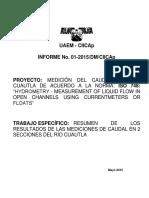 Reporte Medicion Caudal Rio Cuautla