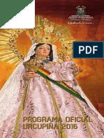 Cronograma de las actividades de Urkupiña 2016
