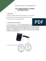 Analisis y Evaluacion de La Vision Estereoscopica