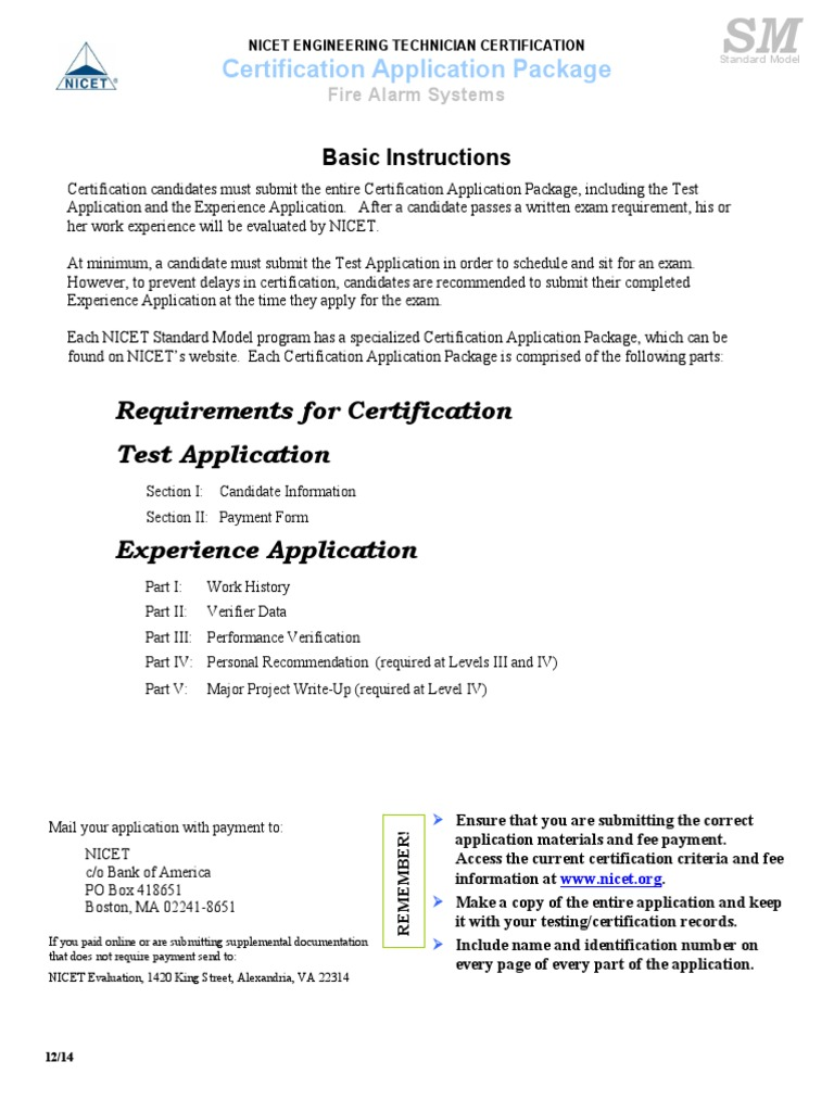 Nicet Engineering Technician Certification Specification