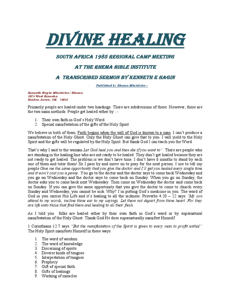 Divine Healing Kenneth E Hagin Glossolalia