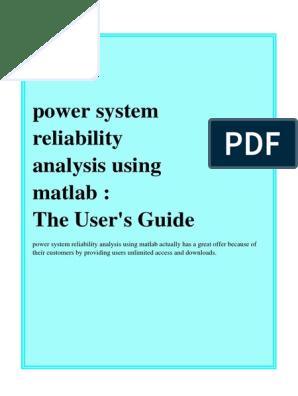 Power System Reliability Analysis Using Matlab | Reliability