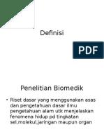 Definisi Penelitian Biomedik