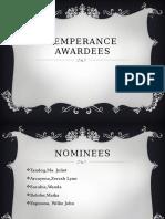Temperance Awardees
