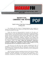 Ratify FOI Canvass Votes. Right to Know, Right Now Coalition Briefer