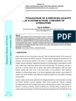 Conceptualization of E-services Quality and E-satisfaction a Review of Literature