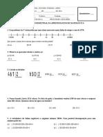 1ª Recuperação Bimestral Da Aprendizagem de Matemática