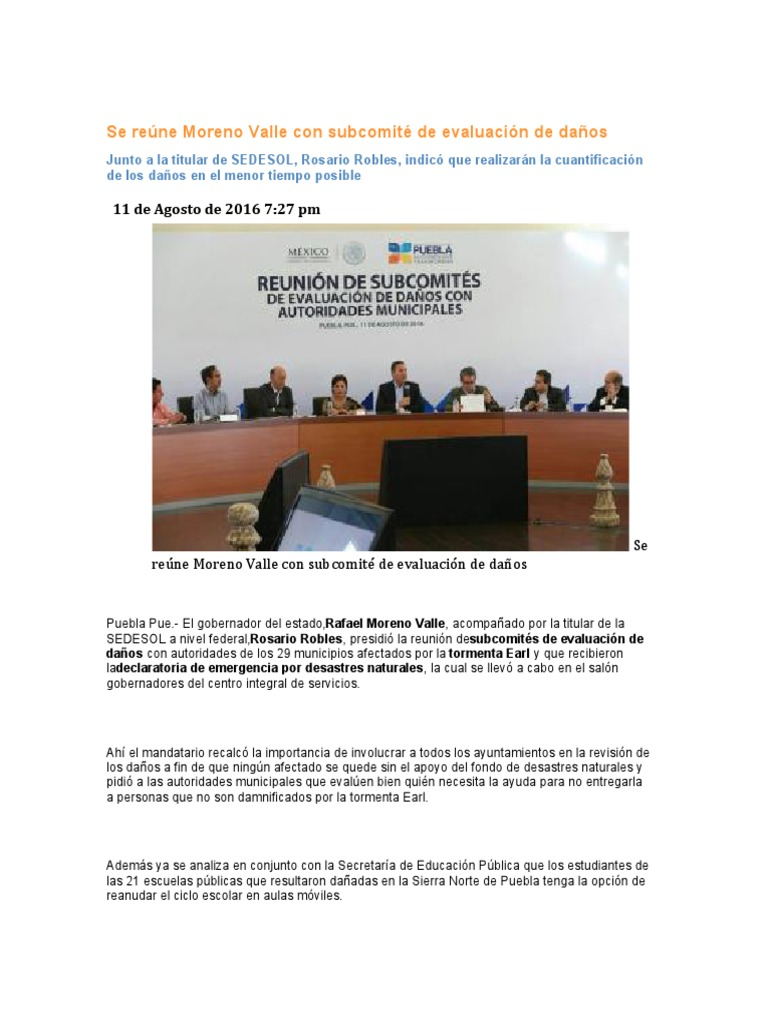 11-08-2016 Puebla Noticias - Se reúne Moreno Valle con subcomité de ...