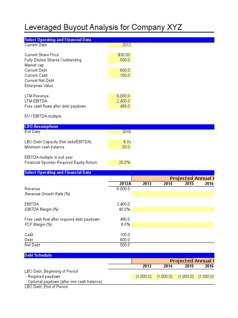 Quick LBO Model   Leveraged Buyout   Margin (Finance)