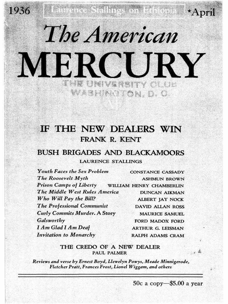 American Mercury April 1936 New Deal Franklin D Roosevelt Tenacious Adults Youth Berths International Tall Ships Race Leg