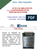 Sistema di validazione di ECU Eldor tramite simulazione hardware-in-the-loop dell'intero perimetro della centralina
