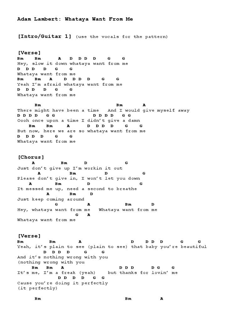Adam Lambert: Whataya Want From Me [Intro/Guitar 1] [Verse]