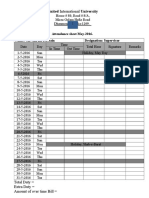 Attendance Sheet for the Month of May
