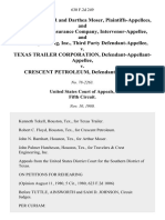 Arthur P. Moser and Darthea Moser, and the Travelers Insurance Company, Intervenor-Appellee, and Crest Engineering, Inc., Third Party v. Texas Trailer Corporation, Defendant-Appellant-Appellee v. Crescent Petroleum, 630 F.2d 249, 3rd Cir. (1980)
