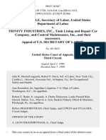 Elizabeth Dole, Secretary of Labor, United States Department of Labor v. Trinity Industries, Inc., Tank Lining and Repair Car Company, and Central Maintenance, Inc., and Their Successors. Appeal of U.S. Secretary of Labor, 904 F.2d 867, 3rd Cir. (1990)