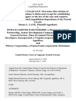 Donna L. Lane v. Pines II Limited Partnership, a Maryland Limited Partnership, Anmar Development Company, Incorporated, General Partner, Pines II Limited Partnership, Arc Developers, Incorporated, a Virginia Corporation, and Pittway Corporation, a Pennsylvania Corporation, 936 F.2d 567, 4th Cir. (1991)