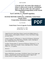 Earl Carter, Jr. v. Suzuki Motor Company, Limited, United States Suzuki Motor Corporation, 945 F.2d 398, 4th Cir. (1991)