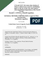 Ronald C. Cowell v. General Motors Corporation Leggett & Platt, Incorporated, 949 F.2d 396, 4th Cir. (1991)