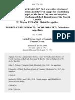 W. Wayne Tiffany v. Forbes Custom Boats, Incorporated, 959 F.2d 232, 4th Cir. (1992)