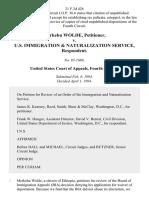 Merkebu Wolde v. U.S. Immigration & Naturalization Service, 21 F.3d 426, 4th Cir. (1994)
