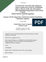 Robert Koon v. Gregory Pack, Supervisor, Central Correctional Institution, 7 F.3d 224, 4th Cir. (1993)