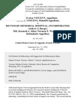 Ngaire Evelyn Vincent, Alfred J. Vincent v. Reynolds Memorial Hospital, Incorporated