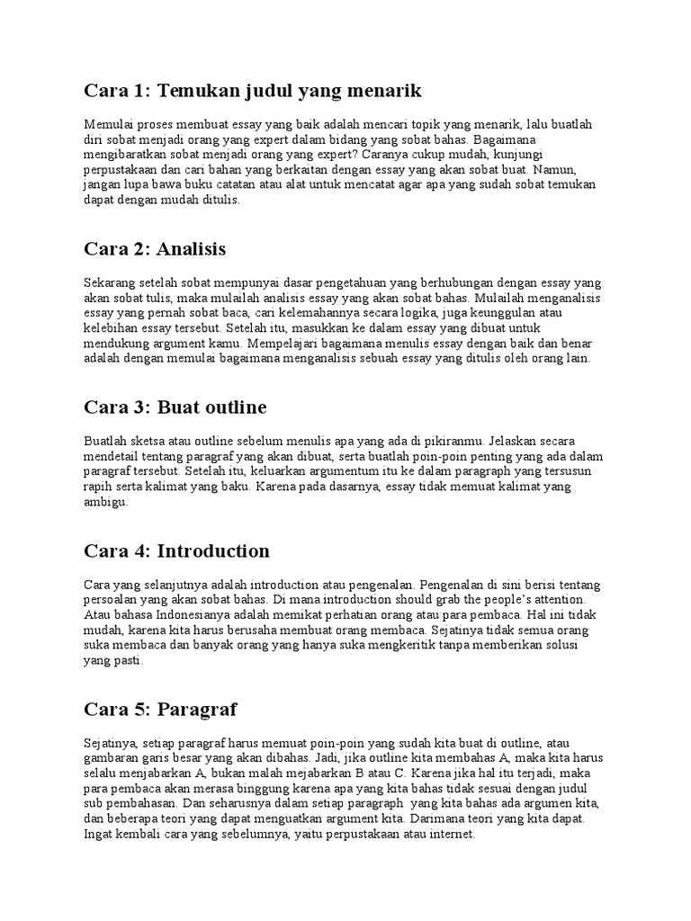 Contoh Penulisan Essay Yang Baik Dan Benar - Temukan Contoh