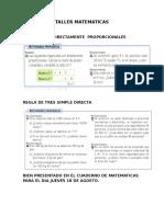 Taller Matematicas Regla de Tres Siimple Directa.