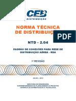 CEB NTB 2.04 - Padrao de Conexoes Para Rede de Distribuicao Aerea - Rda - 1a. Revisao