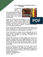 Redacción de La Batalla Del Pichincha Del 24 de Mayo