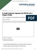E-mails indicam repasse de R$100 mil a Magno Malta — Conversa Afiada