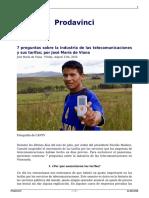 7 Preguntas Sobre La Industria de Las Telecomunicaciones y Sus Tarifas Por Jose Maria de Viana