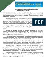aug13.2016 bSolon wants LGUs prohibited from providing allowances to prosecutors & judges