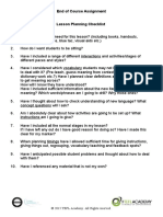 Lesson Planning Checklist and How This Assignment Will Be Graded