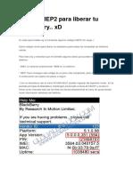 Código MEP2 Para Liberar Tu Blackberry