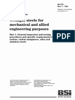 BS 970-1-1991 Specification for Wrought Steels for Mechanical and Allied Engineering Purposes. General Inspection and Testing Procedures and