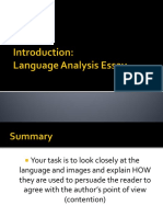 Introduction Language Analysis Eassy