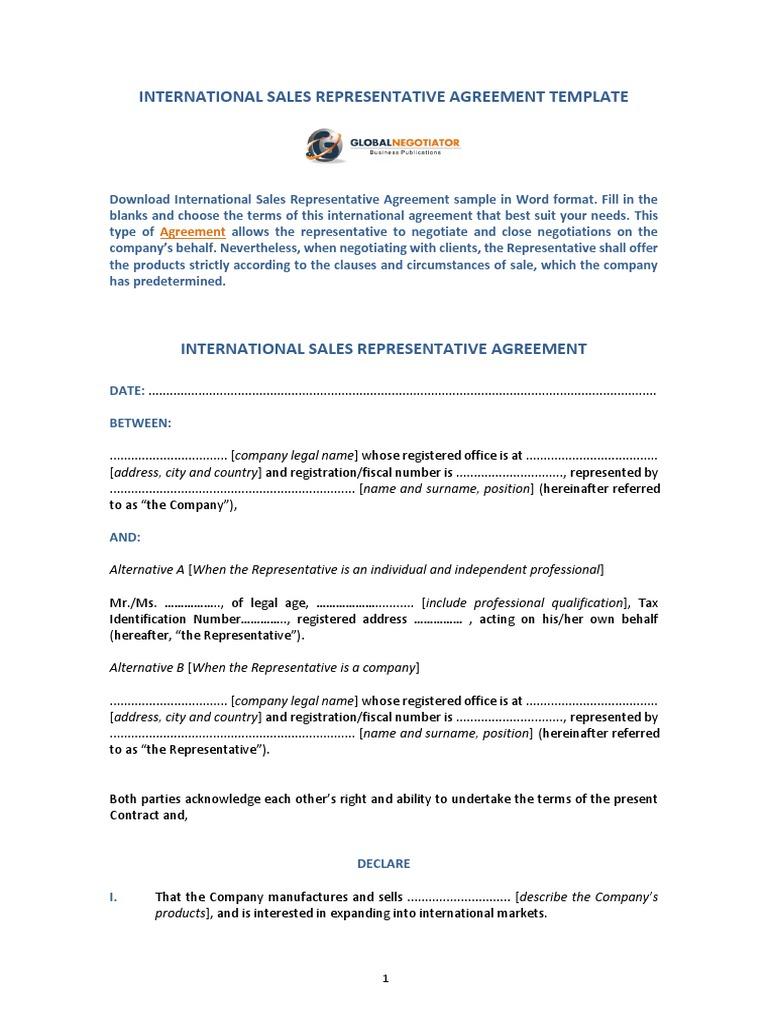 International sales representative agreement template sample international sales representative agreement template sample arbitration law of agency platinumwayz