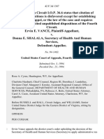 Ervin E. Vance v. Donna E. Shalala, Secretary of Health and Human Services, 42 F.3d 1387, 4th Cir. (1994)