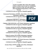 United States v. Emmanuel Ikechukwu Anudu, A/K/A Cletis, A/K/A Claytus, United States of America v. Emmanuel Odemena, United States of America v. Chijioke Chuckwuma, A/K/A Mark, United States of America v. Cyriacus Akas A/K/A Koots, United States of America v. Emmanuel Okoli, United States of America v. Chuks Evaristus Nwaneri, United States of America v. Charles Onwuazombe, A/K/A Ebele Onwuazor, United States of America v. Jerome Okoye Onwuazor, A/K/A Peter, 77 F.3d 471, 4th Cir. (1996)