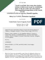 United States v. Ricky Lee Vance, 87 F.3d 1309, 4th Cir. (1996)