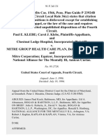 20 Employee Benefits Cas. 1566, Pens. Plan Guide P 23924b Paul E. Klebe Carol J. Klebe, and Chestnut Lodge Hospital, Incorporated v. Mitre Group Health Care Plan, and Mitre Corporation Equicor, Incorporated, National Alliance for the Mentally Ill, Amicus Curiae, 91 F.3d 131, 4th Cir. (1996)