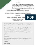 Sharon Denise Owens v. United States, 91 F.3d 132, 4th Cir. (1996)