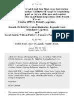 Charles Simms v. Donald Jackson Michael Barksdale Reginald Gant, and Sewall Smith William Philbert Theodore Purnell, 91 F.3d 133, 4th Cir. (1996)