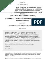 Ellyn L. Bartges v. University of North Carolina, at Charlotte, 94 F.3d 641, 4th Cir. (1996)